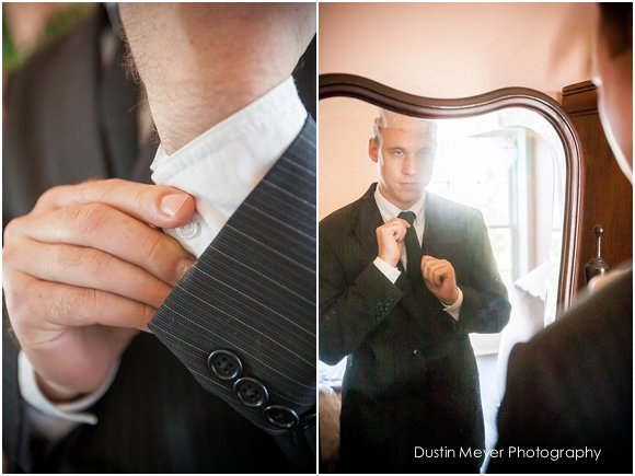 groom getting ready mirror