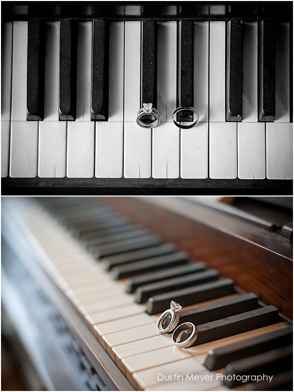 creative piano wedding ring shots