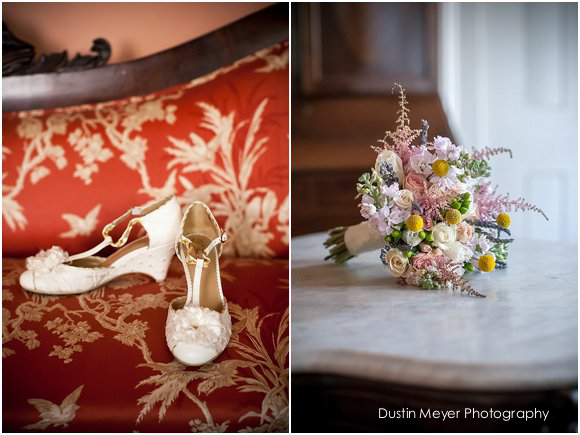 wedding details bride bridal shoes and bouquet