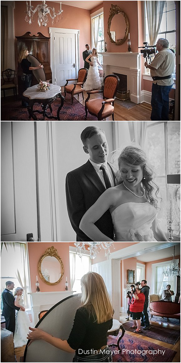 bride and groom take photos in vintage venue