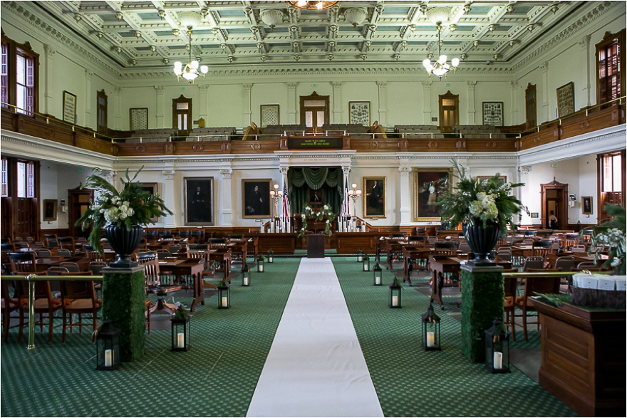A gorgeous wedding ceremony preparation at the Texas State Capitol Senators Chambers