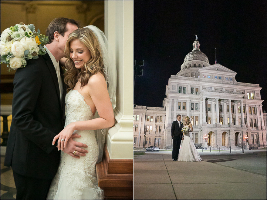 A bride and groom snuggle for a beautiful wedding day portrait. The bride and groom posedoutside of the Texas State Capitol building