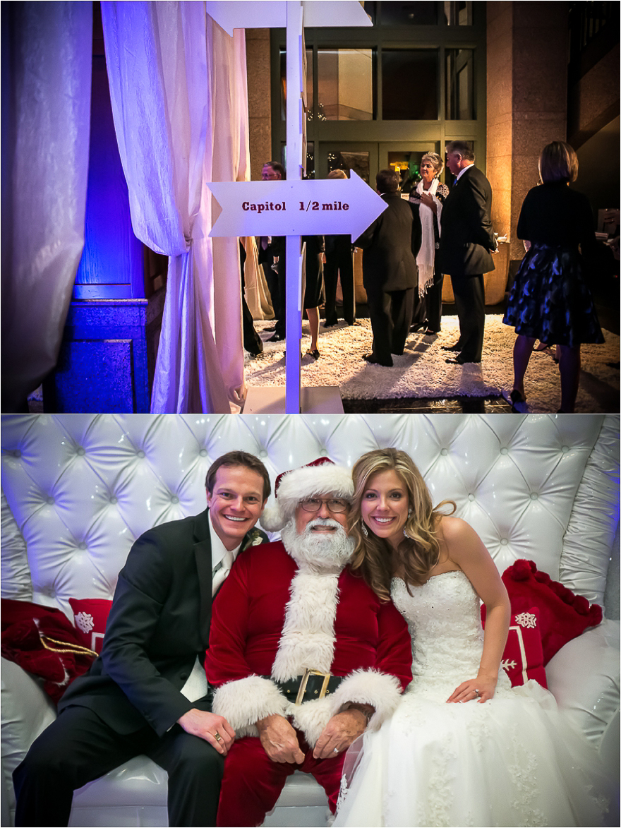 Bride and groom pose with Santa Claus and a winter wedding reception held Bob Bullock Texas State history Museum