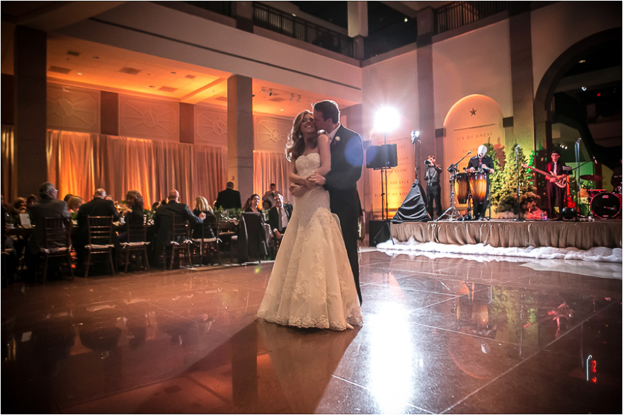 Another gorgeous first dance shot of a bride and groom at their wedding reception at the Bob Bullock Texas State History Museum
