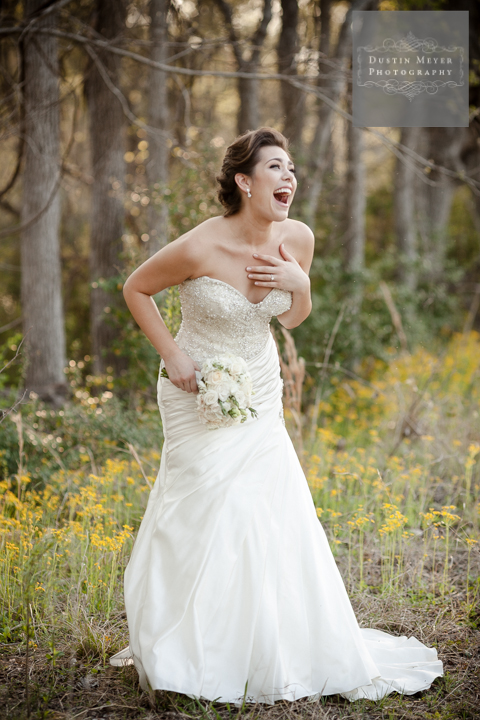 laughing bride bridal portraits with wildflowers austin texas