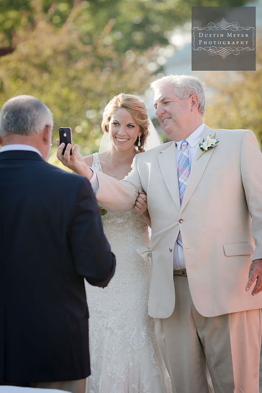 new hampshire wedding photographers father of the bride iPhone ceremony shot