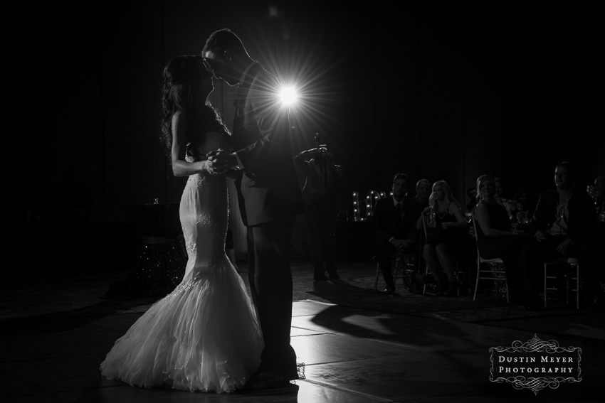 black and white wedding reception first dance photo of bride and groom Austin Wedding Photographers