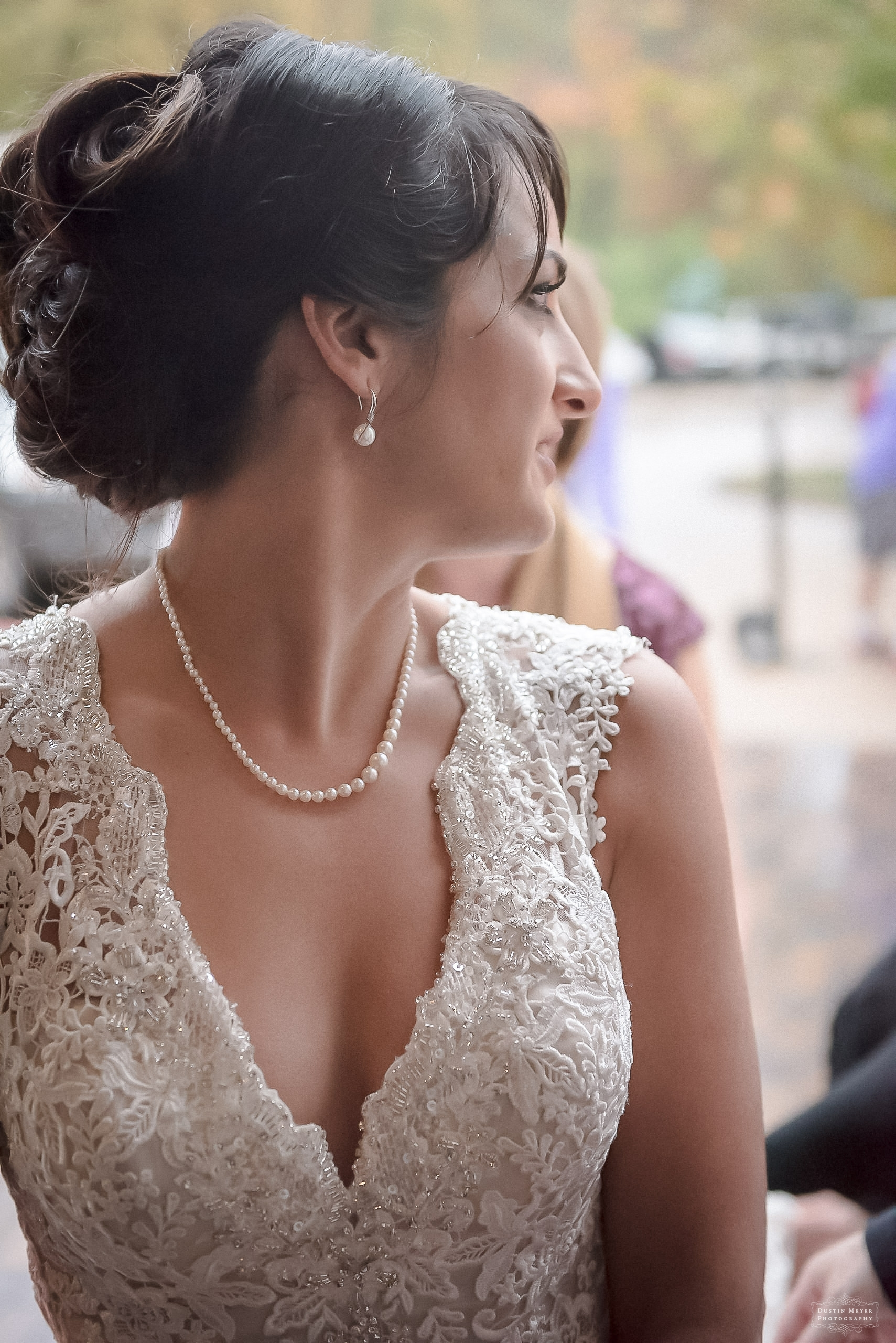 lace bridal gown with pearls