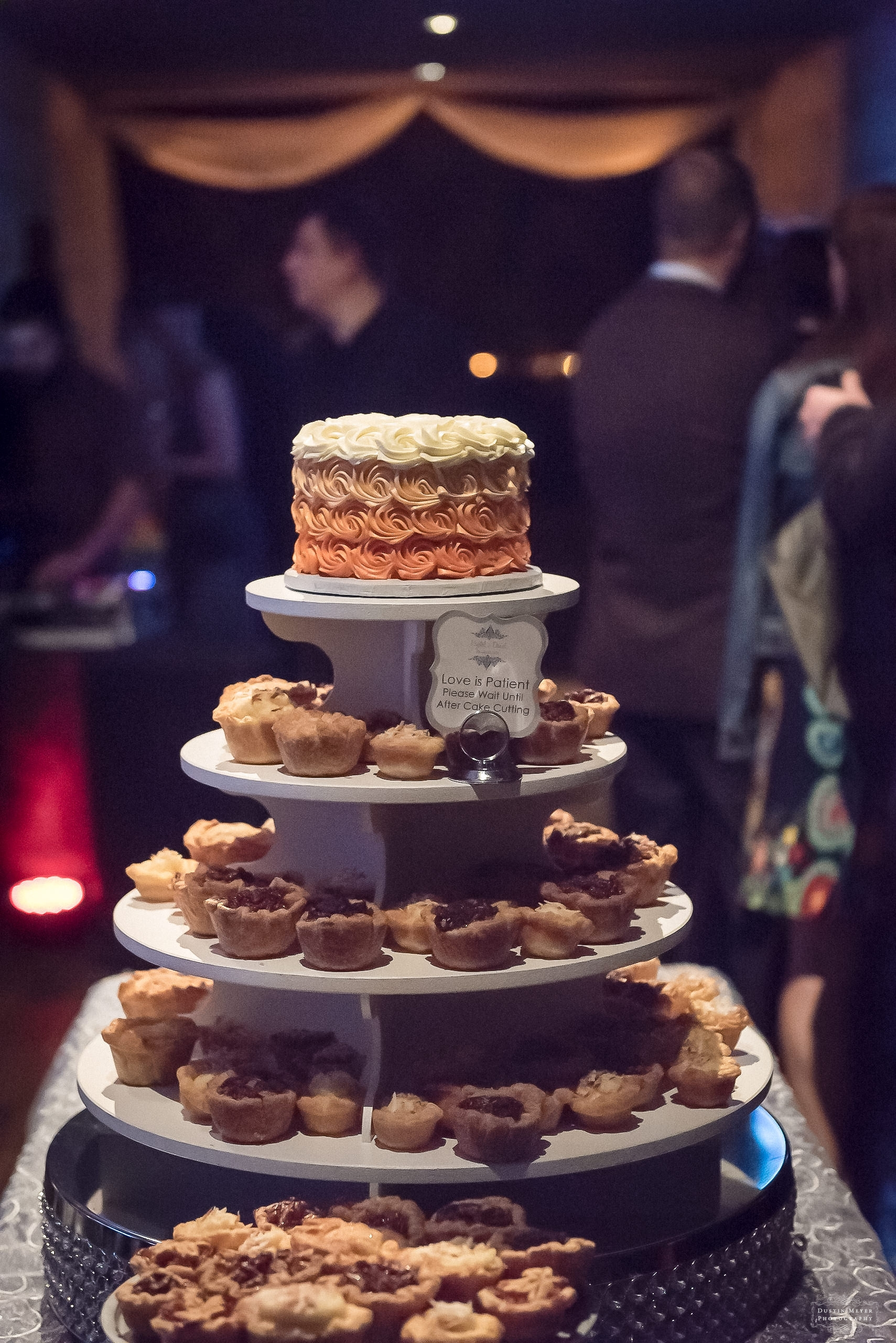 wedding cake with mini pecan pies