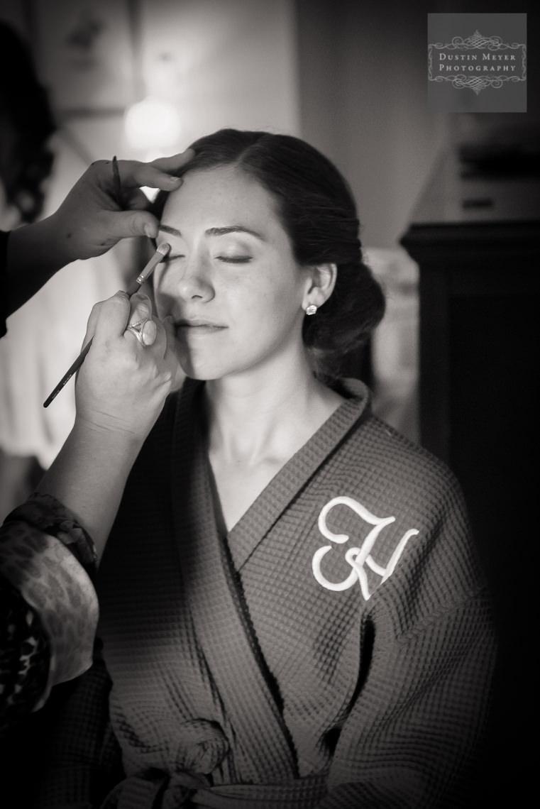 black and white photo of bride at Barton Creek Resort