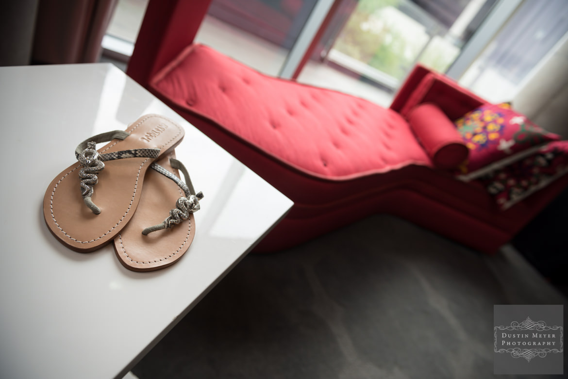 The W Hotel Austin Wedding | Simple and elegant bridal sandals shoes