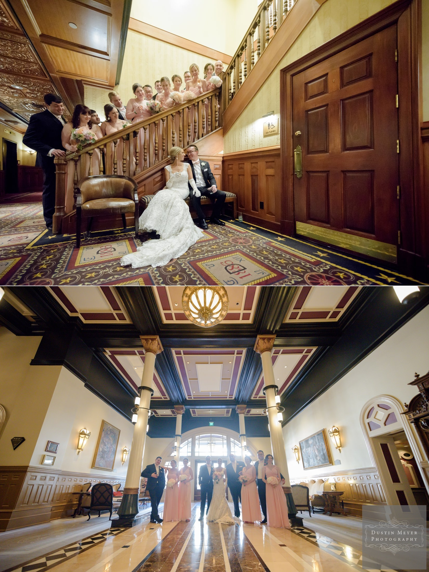 bride and groom with wedding party at the Driskill Hotel