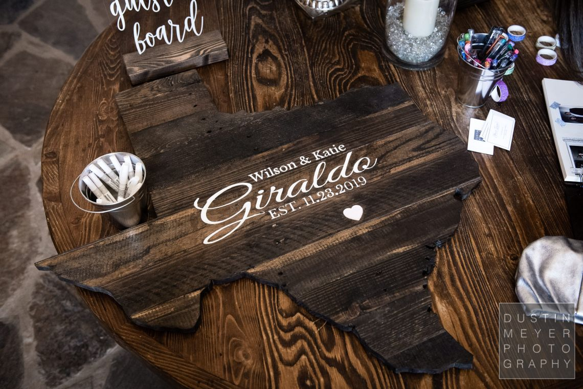 "A custom personalized wedding sign-in ""album"" made of hill country natural wood."