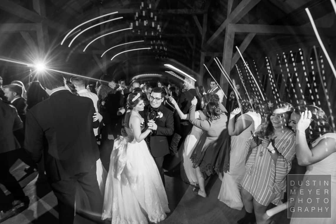 A wedding photo of the last dance of the wedding bride and groom