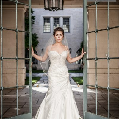 classic stunning bridal portraits old gate at UT campus