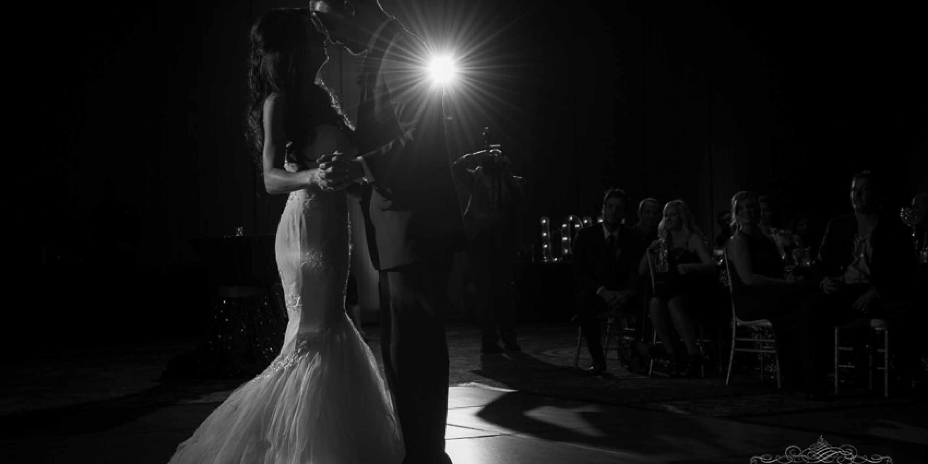 austin wedding photographers black and white wedding reception first dance photo of bride and groom