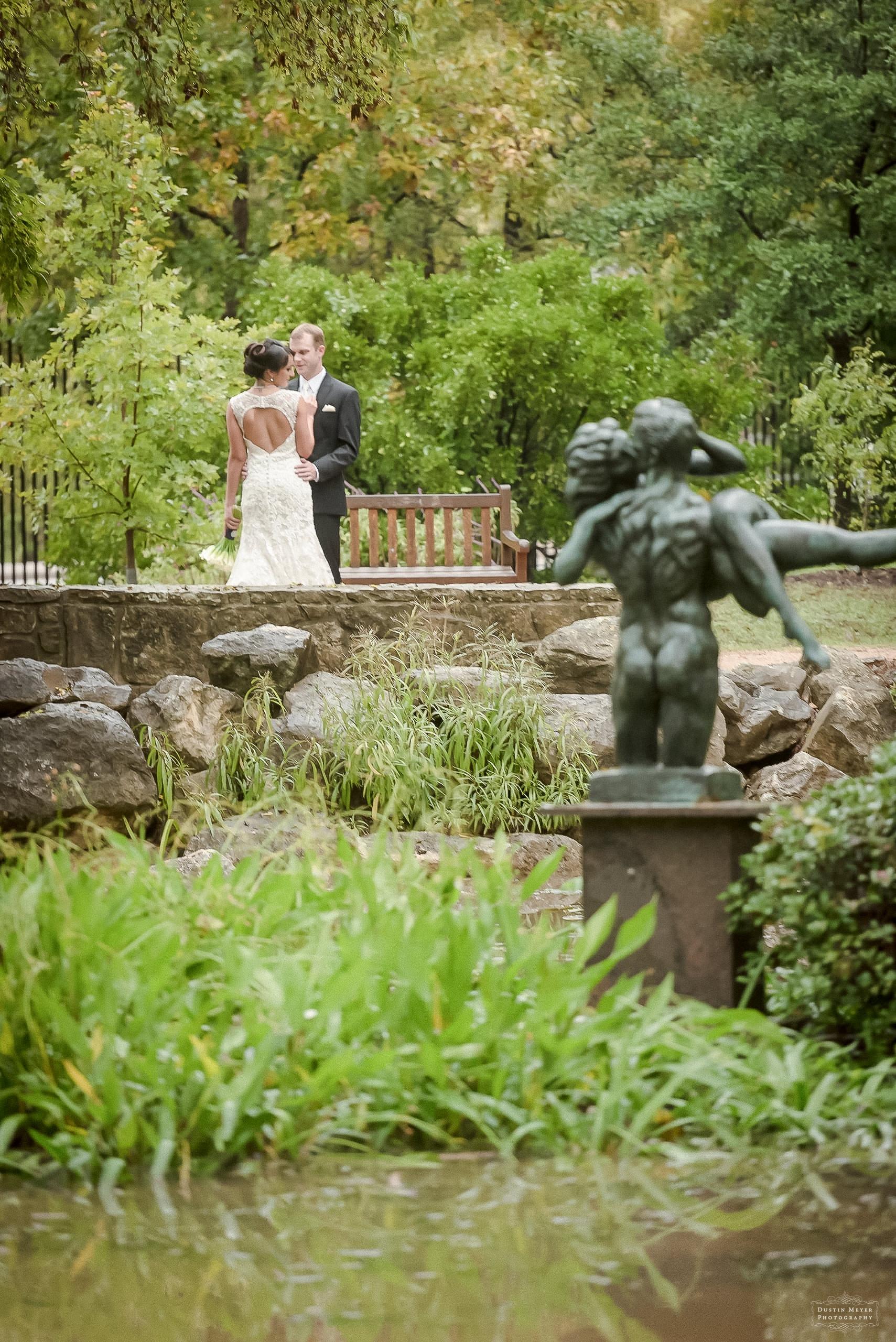 bride and groom wedding day portrait garden